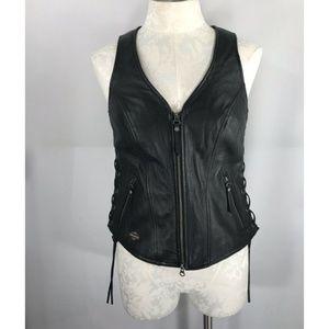 Harley-Davidson sz M Black Leather Vest Side Laces